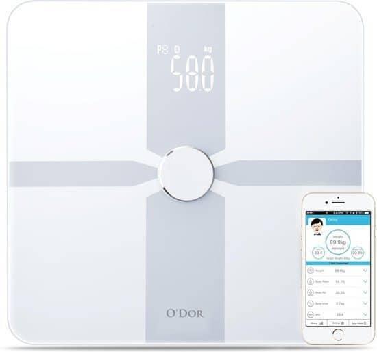 O'dor® Weegschaal - Personenweegschaal Met Lichaamsanalyse - Bluetooth - Wit - XL