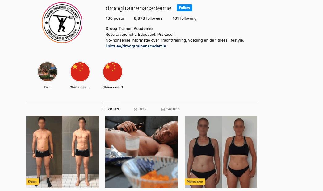 Droog trainen academie Instagram
